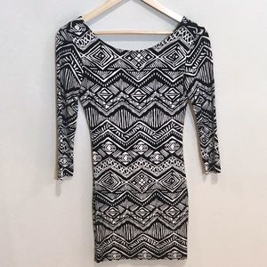 Forever 21 Fitted Black Back Scoop Mini Dress
